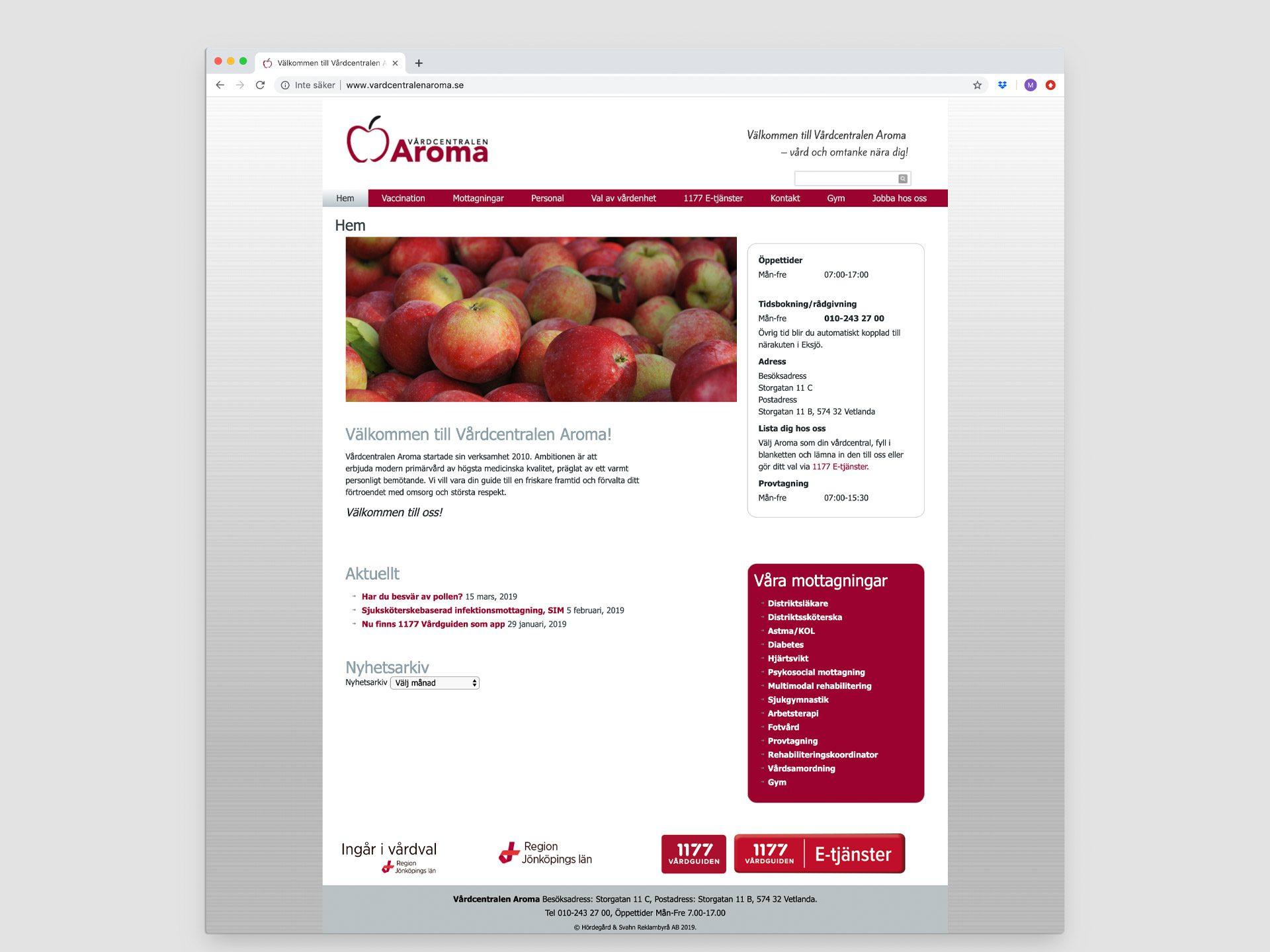 Vårdcentralen AROMA - hemsida